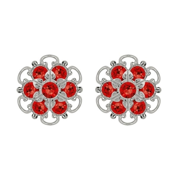 Lucia Costin Sterling Silver Red Crystal Stud Earrings