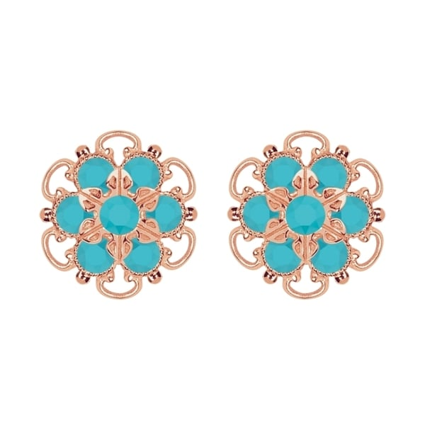 Lucia Costin Rose Gold Plated over Sterling Silver Turquoise Crystal Stud Earrings