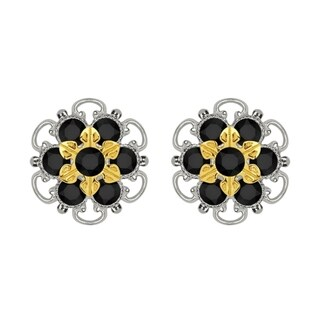 Lucia Costin Yellow Gold Plated over Sterling Silver Black Crystal Stud Earrings