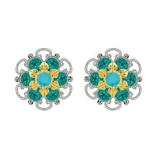 Lucia Costin Gold Over Sterling Silver Turquoise Green Crystal Stud Earrings