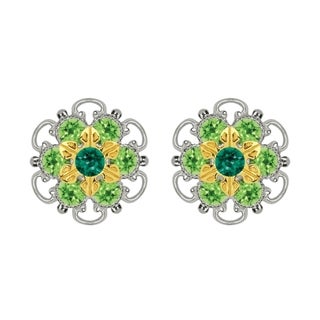 Lucia Costin Gold Over Sterling Silver Dark and Light Green Crystal Stud Earrings