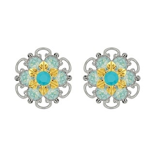 Lucia Costin Gold Over Sterling Silver Turquoise Mint Blue Crystal Stud Earrings