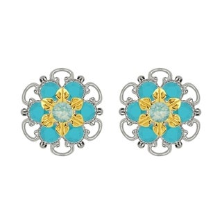 Lucia Costin Gold Over Sterling Silver Mint Blue Turquoise Crystal Stud Earrings