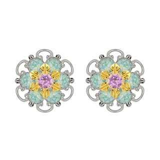 Lucia Costin Gold Over Sterling Silver Lilac Mint Blue Crystal Stud Earrings