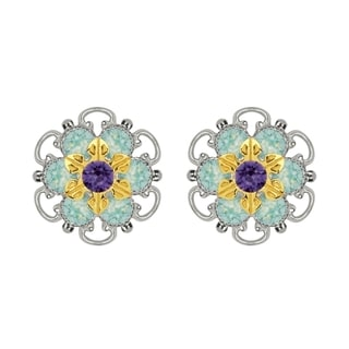 Lucia Costin Gold Over Sterling Silver Mint Blue Violet Crystal Stud Earrings