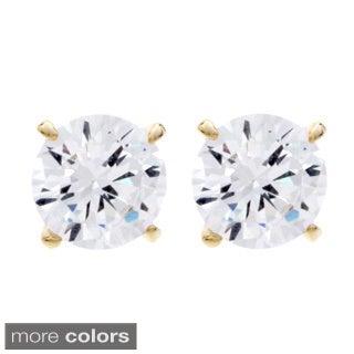 NEXTE Jewelry Goldtone or Silvertone Round Cubic Zirconia Stud Earrings