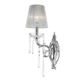 High Gloss 1-light Arm Chrome Finish and Clear Crystal Wall Sconce Light with White String Shade