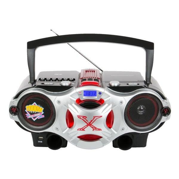 QFX J-48U Portable CD/MP3 Player with USB Radio Cassette Recorder