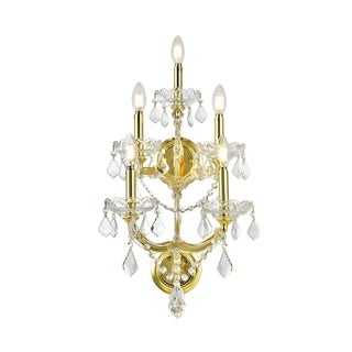 Maria Theresa 5-light Gold Finish and Clear Crystal 3-tier Medium Candle Wall Sconce