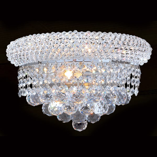 French Empire Two Light Chrome Finish And Clear Crystal Two Inch Medium Wall Sconce