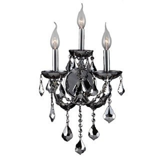 Lyre Collection 3 Light Chrome Finish and Chrome Crystal Candle Wall Sconce Light