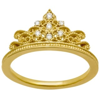 14k Yellow Gold .10ct Diamond Crown Ring