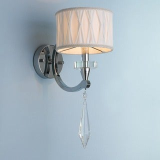 Gatsby Collection 1 Light Arm Chrome Finish and Clear Crystal Wall Sconce Light with White Fabric Shade
