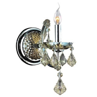 Classic Italian 1 Light Chrome Finish and Golden Teak Crystal Candle Wall Sconce Light