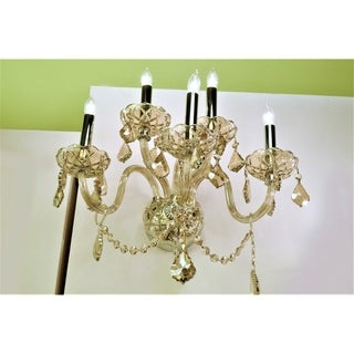 Venetian Italian Style 5-light Chrome Finish and Golden Teak Crystal Wall Sconce