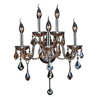 Provence Venetian Style 5 Light Chrome Finish and Amber Crystal Candle Wall Sconce Light
