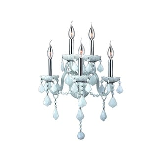 Provence Venetian Style 5-light Chrome Finish and White Crystal Candle Wall Sconce Light 2-tier