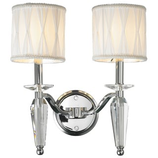 Gatsby Collection 2 Light Arm Chrome Finish and Clear Crystal Wall Sconce Light with White Fabric Shade