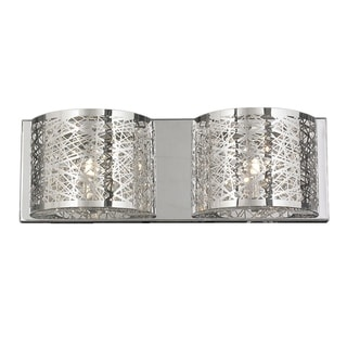 Aramis Collection 2 Light LED Chrome Finish and Clear Crystal Wall Sconce Light
