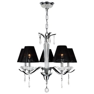 Gatsby Collection 5 Light Arm Chrome Finish and Clear Crystal Chandelier with Black String Shade
