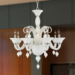 Murano Venetian Style 8-light Amber Blown Glass 27-inch White Finish Chandelier