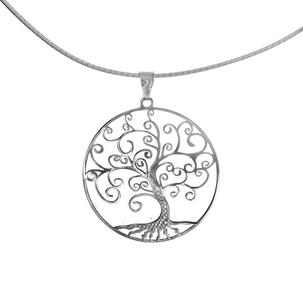 Sterling Essentials Silver Tree of Life Snake Collar Necklace