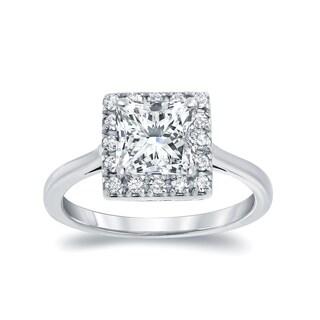 Auriya 14k White Gold 1 1/4ct TDW Princess Cut Diamond Halo Engagement Ring (I-J, I1-I2)