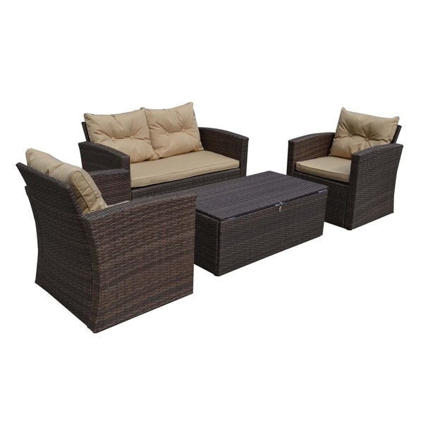 Baxton Studio Russo Contemporary PE Rattan Outdoor 4 Pieces Loveseat Patio Se