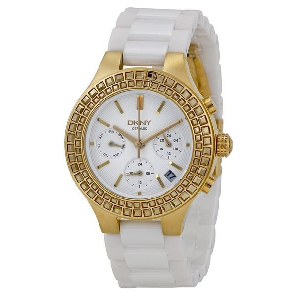 DKNY Women's NY2224 'Chambers' Chronograph White Ceramic Watch