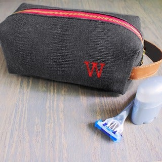 Personalized Charcoal Waxed Canvas and Leather Dopp Kit