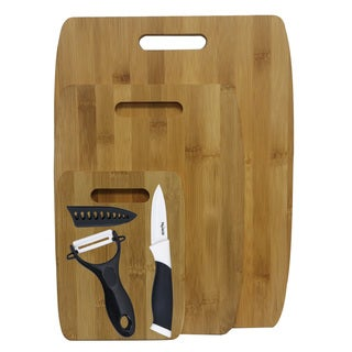 3-piece Bamboo Cutting Board Set with Ceramic Knife and Peeler