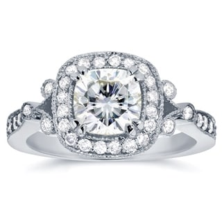 Annello 14k White Gold Cushion-cut Moissanite and 3/8ct TDW Diamond Antique Halo Engagement Ring (G-H, I1-I2)