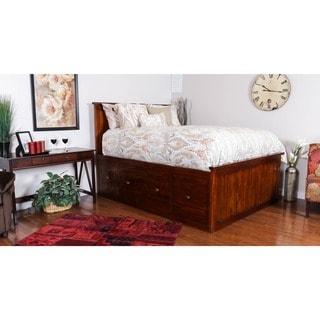 Somette Glendive Collection Dark Brown Mahogany King-size 9-drawer Storage Bed