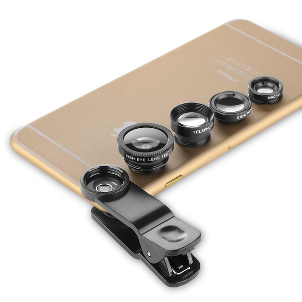 Insten 4 in 1 Fisheye/ Wide Angle/ Marco/ Telephoto Camera Lens for Apple iPhone 6/ 6+/ Samsung Galaxy S6/ S6 Edge