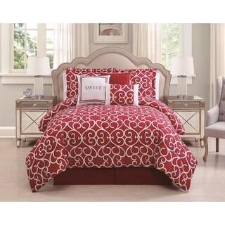 Sweet Red/White 7-piece Comforter Set
