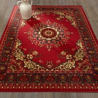 Red Traditional Medallion Design Area Rug (8'2 x 9'10 )