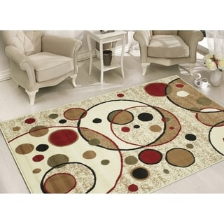 Sweet Home Modern Beige Circles Area Rug (8'2 x 9'10)