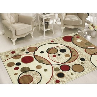 Beige Modern Circles Design Area Rug (5' x 7')