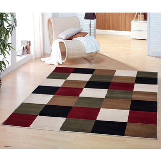 Multi-colored Modern Boxes Design Area Rug (8'2 x 9'10 )
