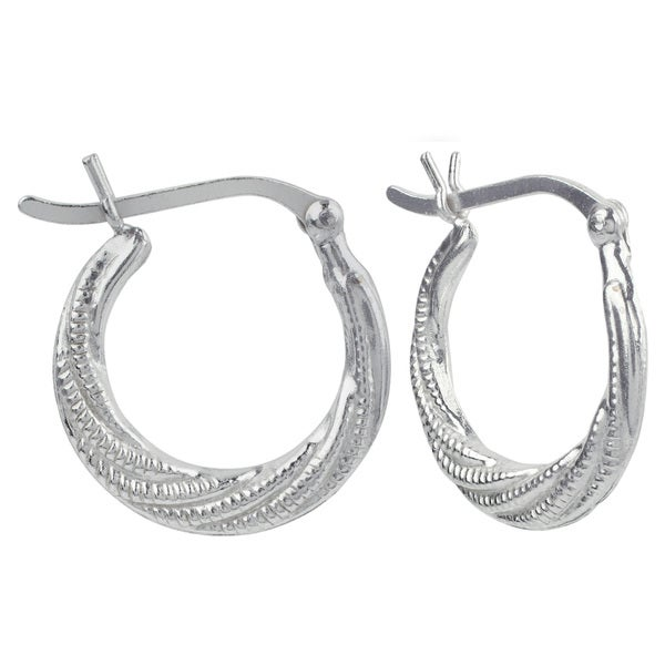 Sunstone Sterling Silver Lightweight Textured Hoop Earrings
