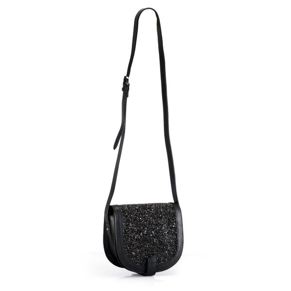Phive Rivers Leather Black Glitter Crossbody Bag