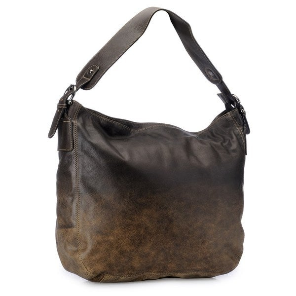Phive Rivers Black Leather Ombre Hobo Bag