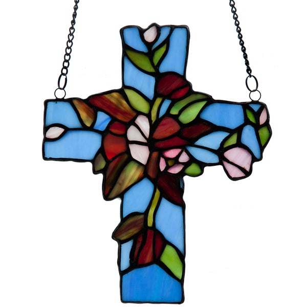 Flowers and Vines Cross Stained Glass Window Panel