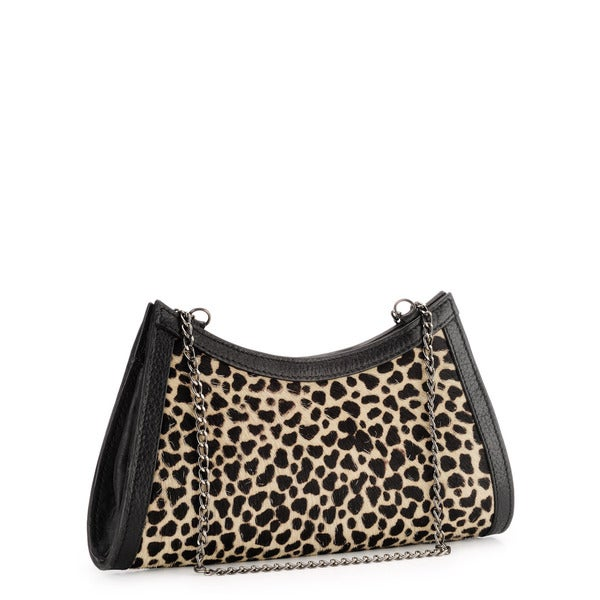 Phive Rivers Black Leather Leopard Print Clutch