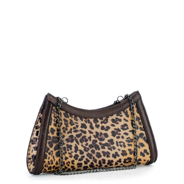 Phive Rivers Brown Leather Leopard Print Clutch