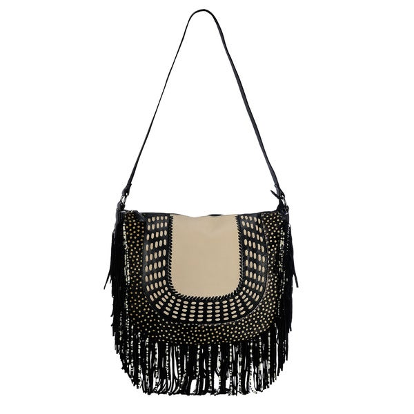 Phive Rivers Black Leather Fringe Clutch