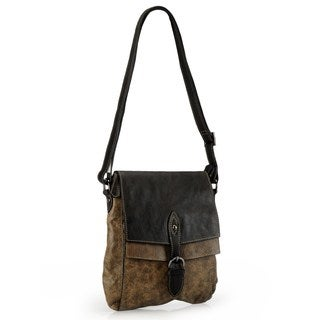 Phive Rivers Distressed Leather Flap-over Crossbody Bag (Italy)