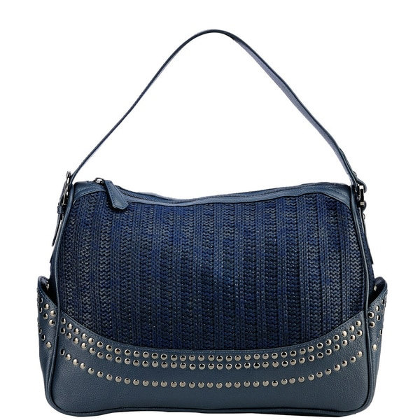 Phive Rivers Navy Leather Stud Handbag