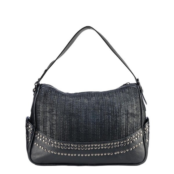Phive Rivers Black Leather Stud Top Zip Handbag