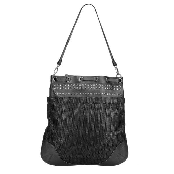Phive Rivers Black Leather Stud Handbag